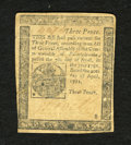 Colonial Notes:Pennsylvania, Pennsylvania April 20, 1781 3d Fine+. A repair on the back isnoticed which closed a tear on this tougher Colonial note whic...