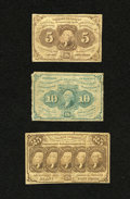 Fractional Currency:First Issue, Fr. 1230 5c First Issue VG. Fr. 1242 10c First Issue VG, washed. Fr. 1281 25c First Issue Fine.. ... (Total: 3 notes)
