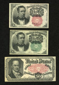 Fractional Currency:Fifth Issue, Fr. 1264 10c Fifth Issue New. Fr. 1266 10c Fifth Issue XF-AU,pinhole. Fr. 1381 50c Fifth Issue Fine, once mounted a... (Total: 3notes)