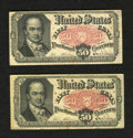 Fractional Currency:Fifth Issue, Fr. 1381 50c Fifth Issue. Two Examples. Fine.. ... (Total: 2 notes)