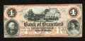 Canadian Currency: , Sault St. Marie, ON- Bank of Brantford $4 Nov. 1, 1859 Charlton 40-10-04-06. Most of the notes for this Canadian bank were i...