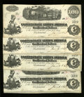 Confederate Notes:1862 Issues, T40 $100 1862 Four Examples. This closely numbered quartet carriesa Jan. 6, 1863 date that is just two days away from the l...(Total: 4 notes)