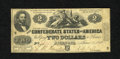 Confederate Notes:1862 Issues, T42 $2 1862. The edges are healthy for this note that has severalpinholes. Very Good....