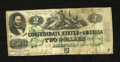 Confederate Notes:1862 Issues, T43 $2 1862. This Deuce was once mounted. We have had only a few ofthese in our internet only auctions over the years. Fi...