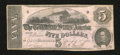 Confederate Notes:1862 Issues, T53 $5 1862. A little bit of soiling is found on the back. Fine....