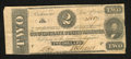 Confederate Notes:1862 Issues, T54 $2 1862. The left-hand edge carries a large amount of selvedge.Fine....
