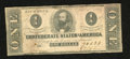 Confederate Notes:1862 Issues, T55 $1 1862. A few spots are located on this Ace. Fine....