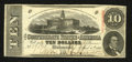 Confederate Notes:1863 Issues, T59 $10 1863. The bold embossing from the FEBRUARY, 1864, overprintis evident on the back. This issued, but unused note sho...
