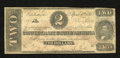 Confederate Notes:1863 Issues, T61 $2 1863. Edge tears are absent while pinholes are noticed. VeryGood....