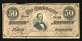 Confederate Notes:1864 Issues, T66 $50 1864. No holes are noticed on this example that has a couple splits along the top margin. Very Fine....