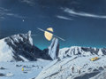 Mainstream Illustration, RON MILLER (American, b. 1947). Exploring Titan. Acrylic onboard. 17.5 x 23.5 in. (sight). Signed lower right. Norm...