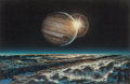 Mainstream Illustration, DON DIXON (American, b. 1951). Jupiter and One of His Moons,1974. Mixed media on masonite. 11.125 x 17.125 in. (sight)...