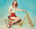 """Pin-up and Glamour Art, DONALD """"RUSTY"""" RUST (American, b. 1932). Always on HerA-Game. Oil on canvas. 23 x 28 in.. Signed lower right. ..."""