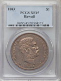 Coins of Hawaii: , 1883 $1 Hawaii Dollar XF45 PCGS. PCGS Population (169/263). NGCCensus: (65/209). Mintage: 500,000. ...
