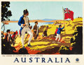 "Movie Posters:Miscellaneous, Australia Travel Poster (Australian National Travel Association,1930). Poster (19"" X 24.75"") ""The Landing of Captain Cook a..."
