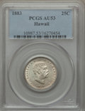 Coins of Hawaii: , 1883 25C Hawaii Quarter AU53 PCGS. PCGS Population (54/1413). NGCCensus: (24/1075). Mintage: 500,000. ...