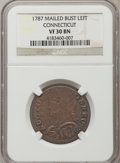 Colonials: , 1787 COPPER Connecticut Copper, Mailed Bust Left VF30 NGC. NGC Census: (11/26). PCGS Population (9/37). ...