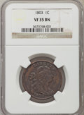 Large Cents: , 1803 1C Small Date, Small Fraction VF35 NGC. NGC Census: (29/182). PCGS Population (35/189). Mintage: 3,131,691. Numismedia...