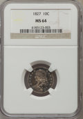 Bust Dimes: , 1827 10C MS64 NGC. NGC Census: (48/27). PCGS Population (54/16).Mintage: 1,300,000. Numismedia Wsl. Price for problem free...