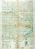 """Books:Maps & Atlases, [Maps]. Double-Sided Topographical Map of Keats, Kansas. [N.p., n.d., ca. 1947]. Measures approximately 28"""" x 22"""". Multiple ..."""