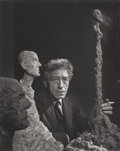 Photographs:Gelatin Silver, YOUSUF KARSH (Canadian, 1908-2002). Giacometti, 1965.Gelatin silver. 13-5/8 x 10-5/8 inches (34.6 x 27.0 cm). Titledan...