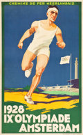 "Movie Posters:Miscellaneous, Olympics IX in Amsterdam Poster (1928). Poster (24.5"" X 39.25"") ""Chemins de Fer Néerlandais (Dutch Railways)."". ..."