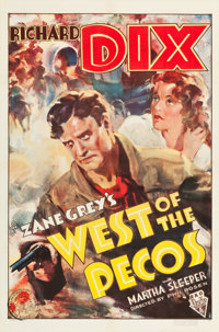 """West of the Pecos (RKO, 1935). One Sheet (27"""" X 41"""")"""