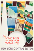 "Movie Posters:Miscellaneous, New York Central System Travel Poster (1939). Poster (27"" X 41"")""The Scenic Route to the New York World's Fair."". ..."