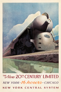 "New York Central System Travel Poster (1938). Poster (27"" X 40.75"") ""The New 20th Century Limited.""..."