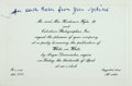 "Autographs:Authors, John Updike. Fictional Invitation Inscribed. The item appeared inthe ""White on White"" chapter of Updike's Bech is Back. ..."