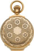 Timepieces:Pocket (pre 1900) , Elgin H.H. Taylor 14k Gold Box Hinge Hunters Case, circa 1887. ...