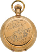 Timepieces:Wristwatch, Peoria 14k Gold Hunters Case Anti-Magnetic For Railway Service, circa 1890. ...
