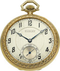 Timepieces:Pocket (post 1900), Dudley Watch Co. Gold Model No. 1 Masonic Watch No. 633, circa1920. ...