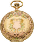 Timepieces:Pocket (post 1900), Elgin Gold 16 Size Multicolor Hunters Case, circa 1909. ...
