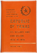 Books:Americana & American History, [Texana]. Anson Jones. LIMITED. Memoranda and OfficialCorrespondence Relating to The Republic of Texas, Its Historyand...