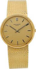 Timepieces:Wristwatch, Patek Philippe Ref. 3611/1 Very Fine Gents Gold Bracelet Watch,circa 1980's. ...