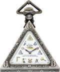 Timepieces:Pocket (post 1900), Tempor Watch, Schwab-Loeillet Rare Masonic Pocket Watch, circa 1905. ...