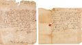 Autographs:Statesmen, [French and Indian War]. Group of Two Edward Shippen III AutographLetters Signed....