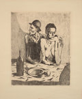 Prints, PABLO PICASSO (Spanish, 1881-1973). Le Repas Frugal (from La Suite des Saltimbanques), 1904. Etching on Van Gelder Z...