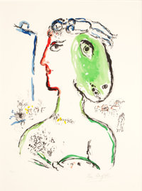 MARC CHAGALL (French/Russian, 1887-1985) L'Artiste Phénix, 1972 Lithograph in colors 23-5/8 x 17-