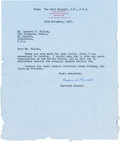 Autographs:Non-American, Bertrand Russell Typed Letter Signed....