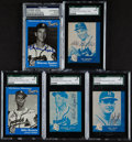 Baseball Cards:Autographs, Milwaukee Braves Signed Commemorative Cards Lot of 5....
