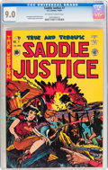 Golden Age (1938-1955):Western, Saddle Justice #7 (EC, 1949) CGC VF/NM 9.0 Off-white to whitepages....