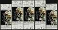 Basketball Collectibles:Others, Bill Russell Signed Tickets Lot of 5....