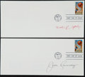 Basketball Collectibles:Others, Bob Knight and Jack Ramsey Signed First Day Covers Lot of 2....