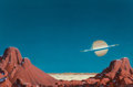 Pulp, Pulp-like, Digests, and Paperback Art, CHESLEY BONESTELL (American, 1888-1986). Saturn from Titan,Space Art cover, 1978. Oil on board. 19.5 x 29.5 in.. Signed...(Total: 2 Items)
