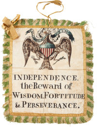 A Striking and Highly Important American Silk Patriotic Banner, Probably of the Federal Period c. Late 1780's