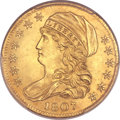 Early Half Eagles, 1807 $5 Bust Left MS63 PCGS. BD-8, R.2....