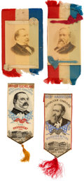 Political:Ribbons & Badges, Grover Cleveland and Benjamin Harrison: Two Pairs of Ribbons....