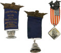 """Political:Ferrotypes / Photo Badges (pre-1896), Benjamin Harrison and Grover Cleveland: Three """"Charm"""" Badges...."""